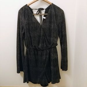 XS Black Romper with Silver Metallic Overlay